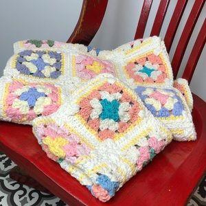 Granny square boho lap baby blanket w doll blanket